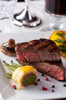 steak with grilled potato on a plate
