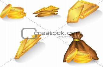 set of gold elements : coins, bag, trapeze, triangle