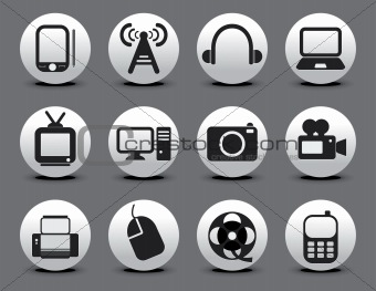 abstract electronic web icon set