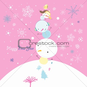 Greeting card with snowmen