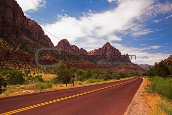 Empty road in Zion NP