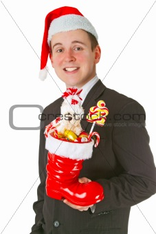 Business man with a Christmas Stocking