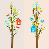 beautiful birds and birdhouses on trees background