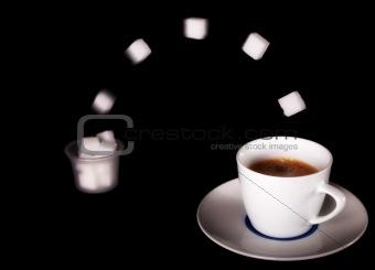 Fresh Coffee with sugar