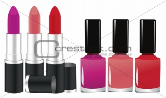 lipstick and nail polish