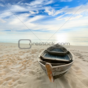 Boat at sunrise