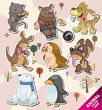 cartoon animal icon Stickers,Label