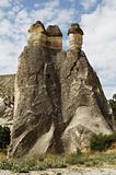 close-up of three majestic limestone fairy chimneys