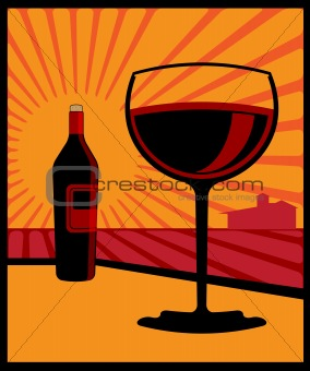 An illustration of a wine bottle and glass of red wine.