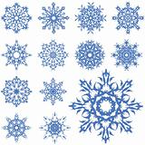 vector set of different snowflakes