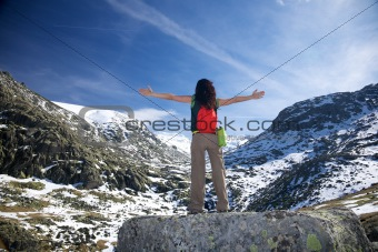 summer woman snow mountain
