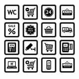 Set symbols supermarket services, Shopping Icons. Black