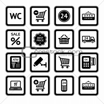 Set symbols supermarket services, Shopping Icons. Black
