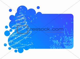Blue Christmas frame with contour christmas tree