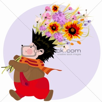 Autumn flowers. Vector holiday card