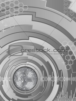 Abstract background with disco ball. Vector illustration.