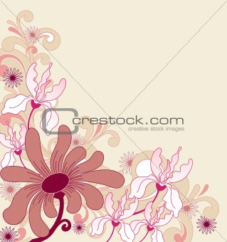 background with ornament and flowers