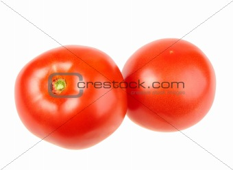 Group of two ripe red tomatoes.