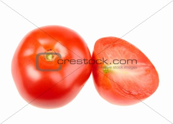 Group of one cross and full ripe red tomatoes