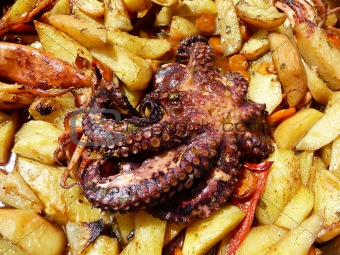 Octopussy with potato baked in olive oil