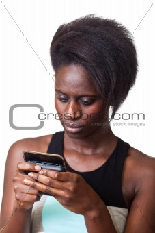 Beautiful Black Woman Typing on Mobile Phone