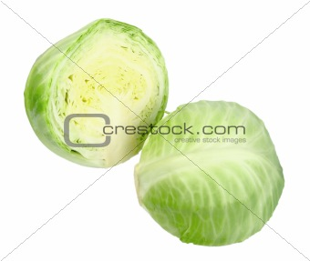 Group of full and cross green cabbage