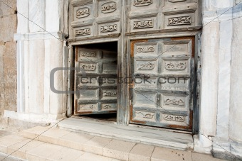 ancient doors of medieval cathedral