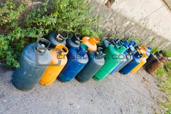 gas bottles on street