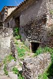 abandoned medieval stone country house
