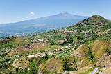 Etna and agricultural gardens on flank of hills in Sicily