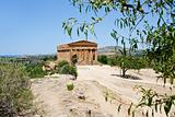 view on Temple on Concordia in Valley of Temples and  town Agrigento