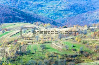 Autumn country landscape (Carpathian, Ukraine).
