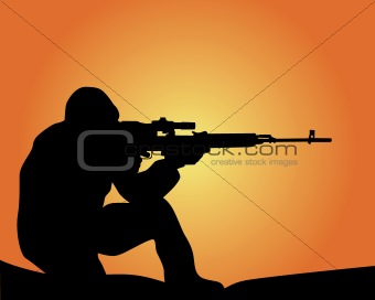 silhouette of a sniper 