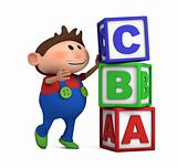 school boy with ABC cubes