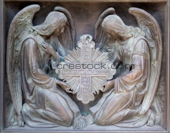 Bas-reliefs of angels with cross