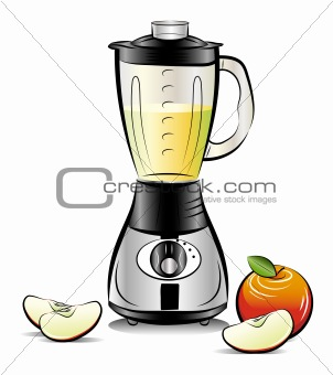 Drawing color kitchen blender with Apple juice. Vector illustration