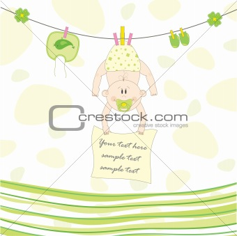 Baby on the rope for drying, vector illustration