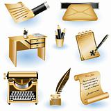 Brown writing icons