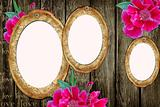 vintage paper frames over grunge wood background