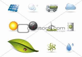 Power and renewable energy icons