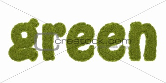 green written with grassy