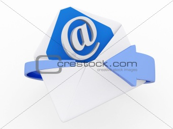 3d mail envelope and blue circular arrows, e-mail marketing conc
