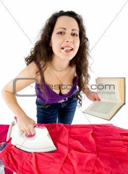 housewife ironing smoking