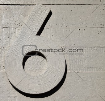 six nine number concrete wall