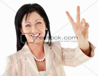 Woman victory peace sign