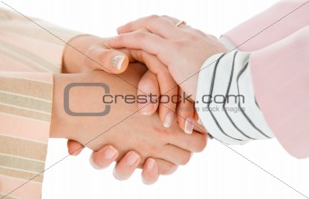warm female business handshake
