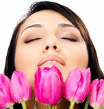Female face tulips