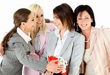 excitement businesswomen hugging