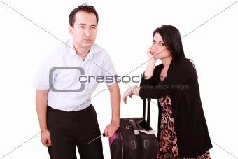 caucasian businesswoman and businessman