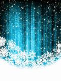 Blue abstract christmas background with snowflake
